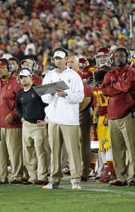 Pressure is on · Head coach Lane Kiffin is hoping to come away with a top-ten recruiting class when the dust settles on Wednesday. — Carlo Acenas | Daily Trojan