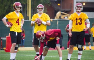 Quarterback controversy· Incoming freshman quarterback Max Browne (No. 4) enters a tightly contested quarterback battle against sophomore incumbents Max Wittek and Cody Kessler. — Joseph Chen | Daily Trojan