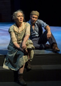 Okies · Deborah Strang (left) and Steve Coombs (right) carry the play through their compelling insight into the minds of Ma and Tom Joad. - Photo courtesy of Craig Schwartz