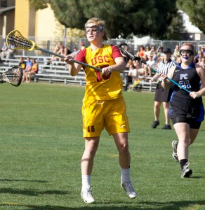 Playing well · Freshman Caroline Cordrey (above) finished with a game-high four goals in USC's 17-12 loss against No. 18 Stanford.  - Ralf Cheung | Daily Trojan