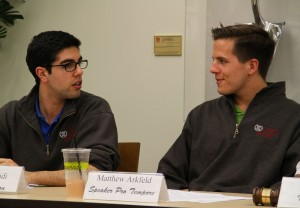 Deliberation · Undergraduate Student Government Parlimentarian Justin Farshidi and Speaker Pro Tempore Matthew Arkfeld deliberate the addition of the Green Student Assembly to Program Board on Tuesday night. - Austin Vogel | Daily Trojan