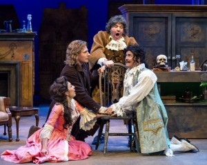 Knaves · Beux' is a twisted take on Pride and Prejudice starring Malia Wright, Blake Ellis, Alan Blumenfeld and Freddy Douglas (left to right). - Courtesy of A Noise Within