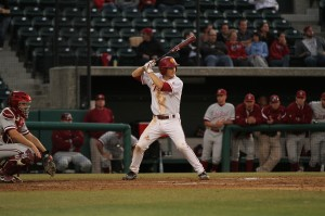 Swinging away · Freshman shortstop Brett Lacey laced an RBI double in the top of the second inning. He went 3-for-4 at the plate Tuesday night. - Corey Marquetti | Daily Trojan