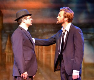 Sleuthing · Blake Walker (left) who plays the detective-priest Father Brown and Brandon Parrish (right) who plays Flambeau, stumble through a story of mystery and intrigue as they try to catch a criminal in Father Brown. - Courtesy of Ellie Roth