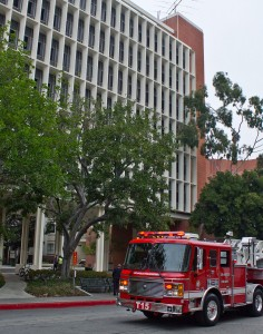 Emergency · The Los Angeles Fire Department responded Tuesday to a report of a small fire at Vivian Hall, located on Watt Way.  - Joseph Chen | Daily Trojan