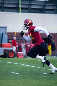 In the swing of things · In a return to the practice field, junior wide receiver Marqise Lee (above) played well against a banged-up secondary, which is missing freshman Su'a Cravens and senior cornerback Torin Harris. - Joseph Chen | Daily Trojan