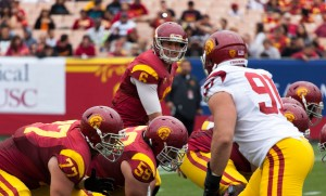 In command · Redshirt sophomore quarter back Cody Kessler (6) had the best day of USC's three quarterbacks in Saturday's spring game, completing 15 of 22 passes for 242 yards and three touchdowns with no interceptions. - Ralf Cheung | Daily Trojan