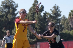 Leading the attack · Freshman Amanda Johansen (above) scored a game-high four goals in USC's 12-11 victory over the SDSU Aztecs.  - Ralf Cheung | Daily Trojan
