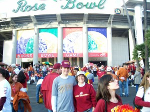 Full recovery · One year after missing the Trojans play for a national championship because of illness, Kim Kaufman and her son Joey were in attendance at the 2006 Rose Bowl to watch USC play the Texas Longhorns. — Courtesy of Joey Kaufman