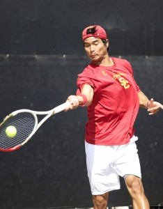 Leading the charge · Junior Ray Sarmiento (above) and the No. 5 seeded men's tennis team have won four straight national championships heading into this year's NCAA tournament, which begins on May 10. - Ralf Cheung | Daily Trojan