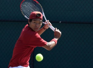 Focused on the future · Junior Ray Sarmiento (above) will look to continue his strong play in USC's final regular season match against UCLA before heading off to the Pac-12 championships, which begin April 23. - Ralf Cheung | Daily Trojan