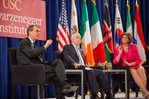 Looking ahead · Sen. Michael Bennet (left to right), Sen. John McCain and ABC News Radio correspondent Ann Compton discuss immigration reform with USC students and faculty on Tuesday at the USC Schwarzenegger Institute's bipartisan summit. - Ralf Cheung | Daily Trojan
