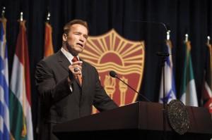 Governator · Former Governor Arnold Schwarzenneger speaks at the Schwarzenegger Institute Inaugural Symposium in September 2012. - Courtesy of Steve Cohn