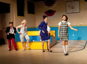 Game on · Spellers Logianne Schwartzand (Darcy Silveira), Olive Ostrosky (Candice Courtney), Rona Lisa (Cynthia Rothschild) and Marcy Park (Kana Koinuma), left to right, break out in silly songs throughout Putnam. - Courtesy of Joy Daunis