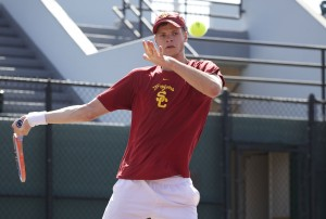 Tough day · USC sophomore Yannick Hanfmann struggled mightily against UCLA. He and junior Ray Sarmiento lost their doubles match 8-6, and Hanfmann lost his singles match 6-1, 6-1 to Adrien Puget. - Ralf Cheung | Daily Trojan