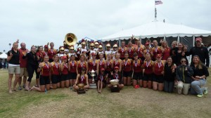 Back on top · Members of the USC women's rowing team pose with the Trojan Marching Band after their dominant performance at the 40th San Diego Classic, which earned the team its first No. 1 ranking since 2007.  - Courtesy of USC Sports Information
