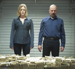 How much is enough? · Skylar (Anna Gunn) and Walter White (Bryan Cranston) will return to conclude the fifth and final season of Breaking Bad beginning August 11. Walter will have to face the consequences of his drug-dealing after he is discovered by his brother-in-law Hank, a DEA Agent. - Courtesy of AMC Networks