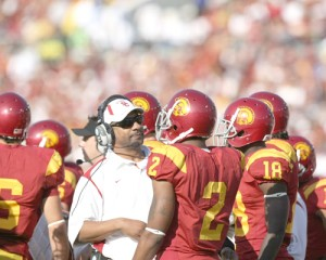 Fighting back · Former running backs coach and special teams coordinator Todd McNair joined the USC coaching staff in 2004. McNair was an ace recruiter for the Trojans up until his contract went unrenewed in 2010. - Photo courtesy of USC Sports Information