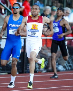 Bright future · After sustaining a gunshot wound in his left leg in the fall of 2009, Bryshon Nellum battled back to win a silver medal in the 1600m relay at the 2012 London Olympic Games and looks ahead to competing in 2016. - Kirby Lee | USC Sports Information