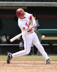 Professional hitter · Senior second baseman Adam Landecker led USC with a .351 batting average and drove in 25 runs in 2013. - Daily Trojan file photo
