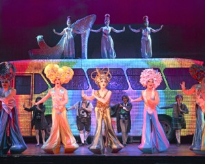 """Disco fever · (Center left to right) Tick (Wade McCollum), Bernadette (Scott Willis), Felicia (Bryan West) and company perform the classic hit """"I Will Survive"""" as a testament to their strength after facing fierce homophobia. - Photo courtesy of the Pantages Theatre"""