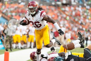 Falling forward · Redshirt junior cornerback Josh Shaw intercepted a tipped pass in the second quarter and returned it for a touchdown, shifting momentum in favor of the Trojans just minutes before halftime. - Ralf Cheung | Daily Trojan
