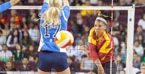 Good first impression · Freshman outside hitter Ebony Nwabenu was a force in her first Pac-12 game, registering a team-high 17 kills, including six in the final set to help clinch the win for the Women of Troy. - Ralf Cheung | Daily Trojan