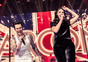 She's got soul · USC popular music graduate Rozzi Crane (right) performs alongside Maroon 5's Adam Levine (left). Crane caught Levine's attention when her manager sent Levine a link to a YouTube video of Crane singing.  - Courtesy of Travis Schneider