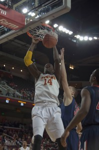 Slam dunk · Former USC center Dewayne Dedmon's rim-shattering dunks were impressive, but he never developed an intricate post game. - Ralf Cheung | Daily Trojan