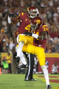 No problems here · The Trojans' defense has been dominant in both matchups this season, recording six interceptions and 11 sacks. Torin Harris (4) is one of five players to notch interceptions for USC. - Ralf Cheung | Daily Trojan