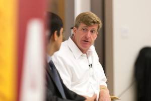 Speaking out · Former Congressman Patrick Kennedy discusses his history with bipolar disorder during  a panel at USC Gould School of Law. - Ralf Cheung | Daily Trojan
