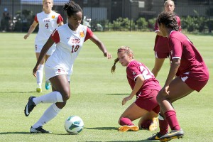Stumbling · Freshman forward/midfielder Kayla Mills (18) and the rest of the USC attack was unable to break through for a goal against ASU. Mills has a team-leading 11 points on the season for the Women of Troy. - Nick Entin | Daily Trojan