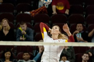 Looking up · Senior middle blocker Alexis Olgard was named to the all-tournament team in the team's victory at the Marquette Challenge. - Joseph Chen | Daily Trojan