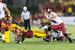 Not enough · USC redshirt sophomore tailback Tre Maddden (23) was the Trojans' sole form of offensive production in the team's 10-7 loss to Washington State. Madden finished with 151 rushing yards on 32 carries. - Ralf Cheung | Daily Trojan