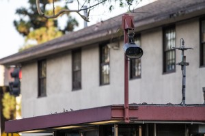 Big brother · A camera watches over Gate 5 on Jefferson Boulevard and McClintock Avenue. DPS has installed 14 new license plate recognition cameras on campus and in the surrounding area since January. - Nick Entin | Daily Trojan