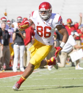 "Up in the air · Redshirt junior tight end Xavier Grimble missed last week's game against Utah after suffering an injury against Notre Dame, but his status was updated to ""probable"" after Wednesday's practice. - Daily Trojan file photo"