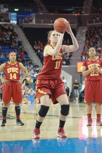 Stalwart · Senior forward Cassie Harberts has started every game for USC for the past three seasons, and has 17 career double-doubles. - Ralf Cheung | Daily Trojan