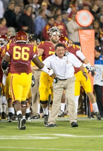 Well done · USC's offensive line, led by junior center Marcus Martin (66), earned high praise after its strong performance against Arizona. - Ralf Cheung   Daily Trojan