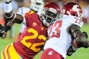 Sparkplug · Freshman safety Leon McQuay III hasn't played many snaps on defense this year, but he's been a special teams standout. McQuay is on the team's kickoff squad and forced a fumble against Washington State. - Courtesy of Dan Avila, USC Athletics