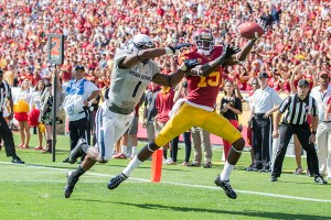 Under wraps · Wide receiver Nelson Agholor hasn't flourished as he was expected to in his sophomore season, only recording 11 receptions so far, but interim head coach Ed Orgeron hopes to spread out the touches on offense. - Ralf Cheung | Daily Trojan
