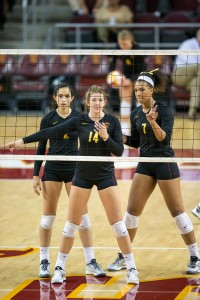 Femme fatale · Junior Hannah Schraer (center) had 10 kills in the Women of Troy's victory over the ASU Sun Devils in Tempe, Ariz. - Ralf Cheung | Daily Trojan