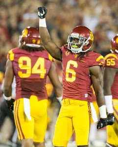 Bragging rights · Redshirt junior cornerback Josh Shaw emerged victorious in a post-practice race between most of USC's skill players. - Ralf Cheung | Daily Trojan