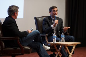 Steve Carell talks to students at USC during Volume 1 of Comedy@SCA. Photo credit: Caleb Coppola.