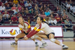 Diggin' it · Sophomore outside hitter Samantha Bricio (right) leads USC in both kills per set (3.42) and points per set (4.45) this season. - Ralf Cheung | Daily Trojan