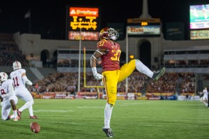 """Roaring to life · Redshirt sophomore running back Javorius """"Buck"""" Allen has been on a tear in November. In his past four games, Allen has rushed for 439 yards and 11 rushing touchdowns while averaging 7.4 yards per carry. - Ralf Cheung 