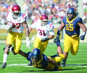 "Buck up · Redshirt sophomore Javorious ""Buck"" Allen, once USC's fourth-string tailback, has scored six touchdowns in the past two games and figures to receive plenty of carries Saturday against Stanford. - Tony Zhou 