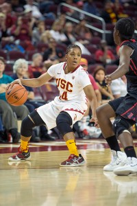 Step up · Junior guard Ariya Crook assumed control of USC's offense after senior forward Cassie Harberts got into foul trouble in the first half. - Ralf Cheung | Daily Trojan