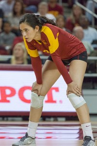 Lead the way · Sophomore outside hitter Samantha Bricio leads the Women of Troy with 266 kills and 61 service aces this season. - Ralf Cheung | Daily Trojan