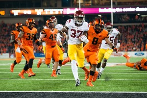 "All smiles · Redshirt sophomore running back Javorius ""Buck"" Allen burst onto the scene against Oregon State with three rushing touchdowns. - William Ehart 