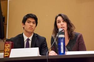 Heated debate · Ivan Kumamoto, of the Environmental Affairs Organization, and community organizer Alexandra Nagy discuss fracking. - Ralf Cheung | Daily Trojan